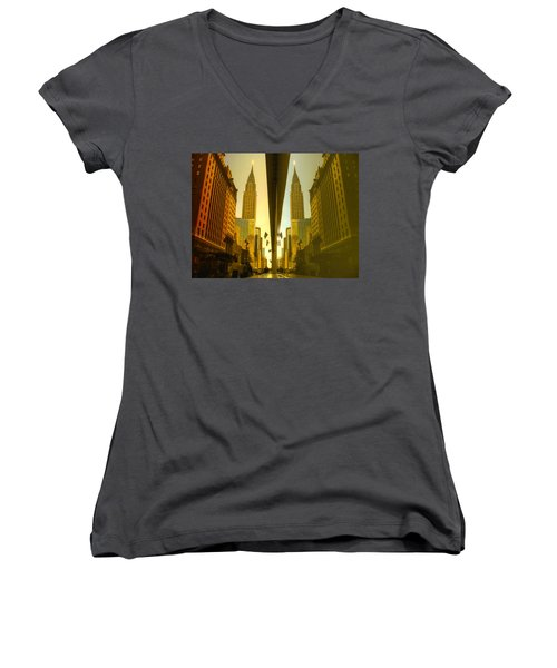 Chrysler Reflection On 42nd Street Women's V-Neck