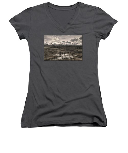 Chugach Mountain Range Women's V-Neck T-Shirt (Junior Cut)