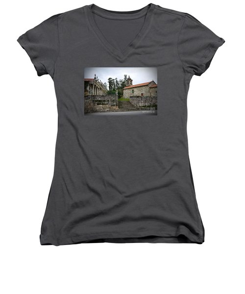 Church And Cemetery In A Small Village In Galicia Women's V-Neck
