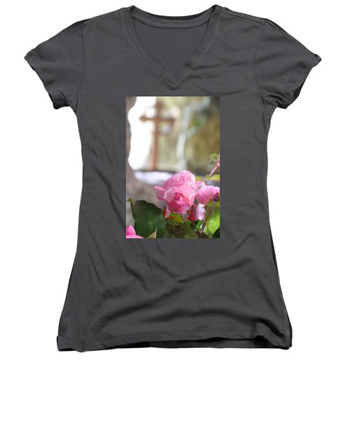Church Flowers Women's V-Neck T-Shirt (Junior Cut) by Jeremy Voisey