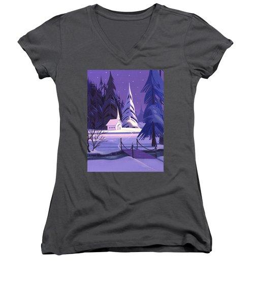 Church In Snow Women's V-Neck T-Shirt (Junior Cut)