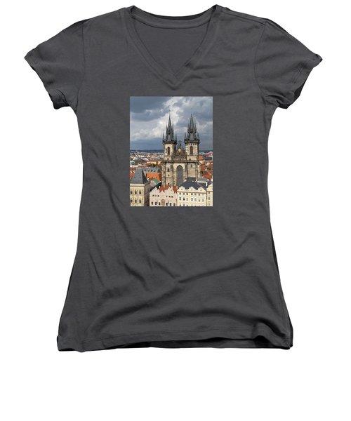 Church Of Our Lady Before Tyn - Prague Women's V-Neck T-Shirt (Junior Cut)