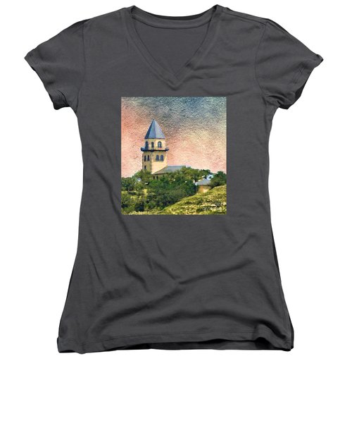Church On Hill Women's V-Neck T-Shirt (Junior Cut) by Janette Boyd