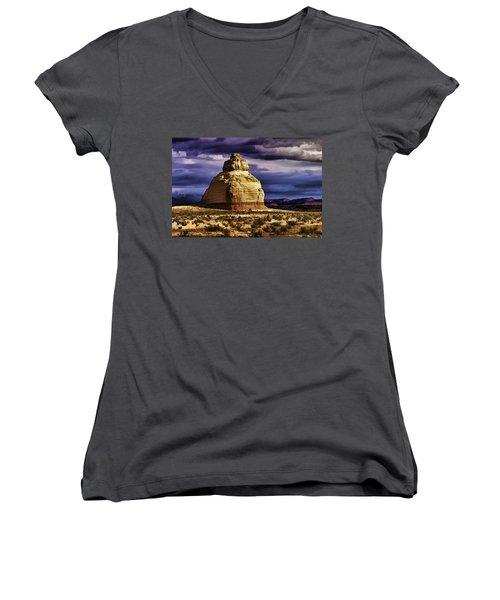 Women's V-Neck T-Shirt (Junior Cut) featuring the painting Church Rock  by Muhie Kanawati