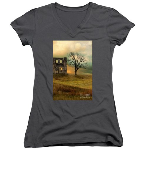 Church Ruin With Stormy Skies Women's V-Neck T-Shirt