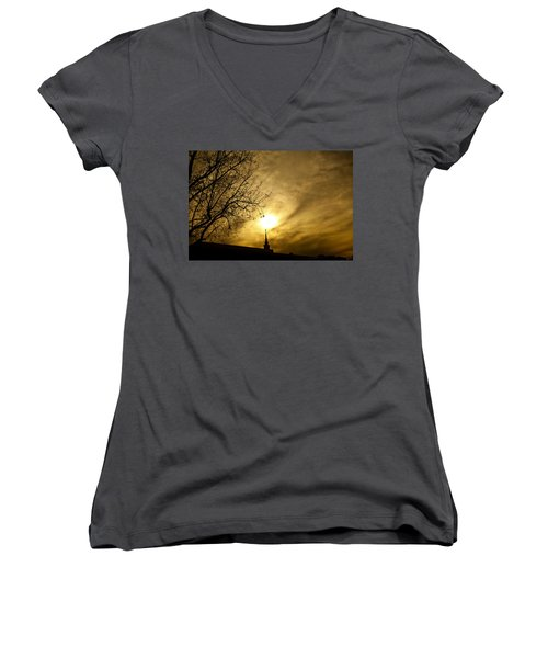 Women's V-Neck T-Shirt (Junior Cut) featuring the photograph Church Steeple Clouds Parting by Jerry Cowart