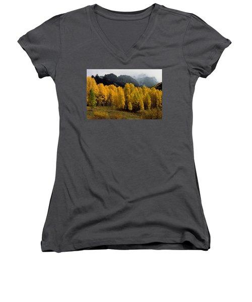 Cimarron Forks Women's V-Neck T-Shirt (Junior Cut) by Eric Glaser