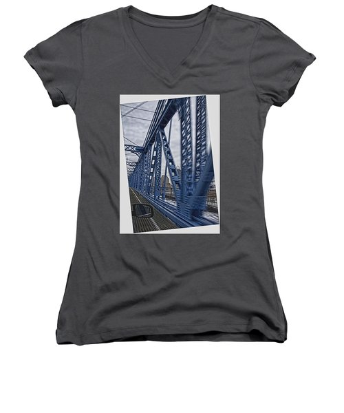 Women's V-Neck T-Shirt (Junior Cut) featuring the photograph Cincinnati Bridge by Daniel Sheldon