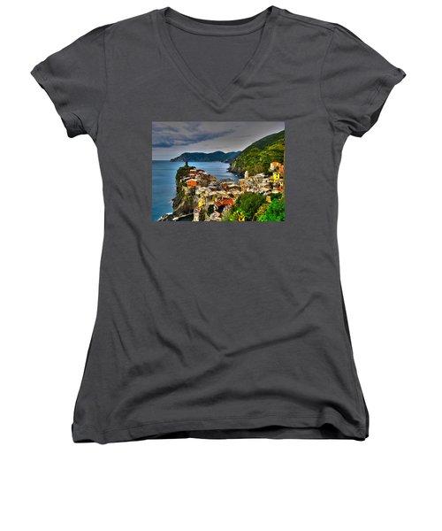 Cinque Terra Women's V-Neck T-Shirt (Junior Cut) by David Gleeson