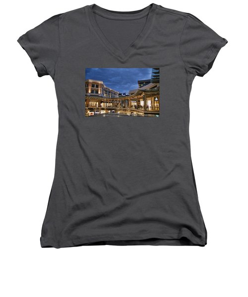 Women's V-Neck T-Shirt (Junior Cut) featuring the photograph City Creek by Ely Arsha