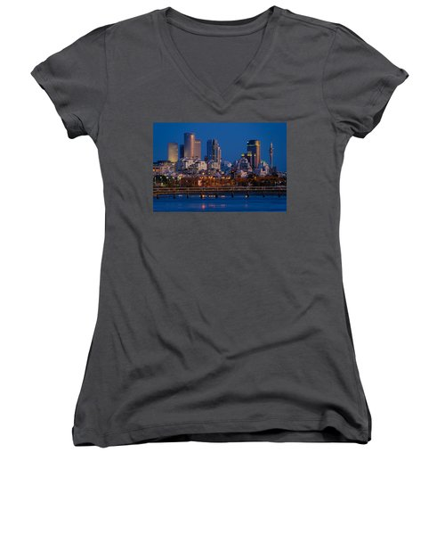 Women's V-Neck T-Shirt featuring the photograph city lights and blue hour at Tel Aviv by Ron Shoshani