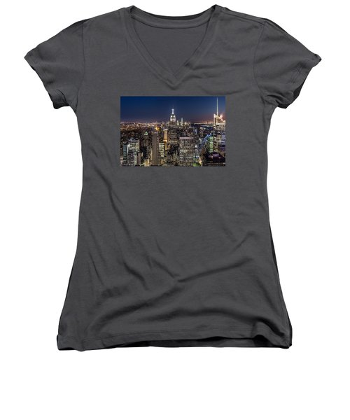 City Lights Women's V-Neck T-Shirt (Junior Cut) by Mihai Andritoiu