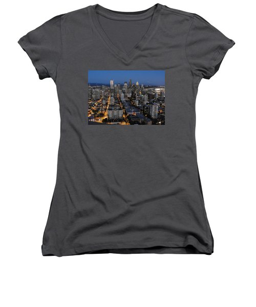 Women's V-Neck T-Shirt (Junior Cut) featuring the photograph City Lights by Natalie Ortiz
