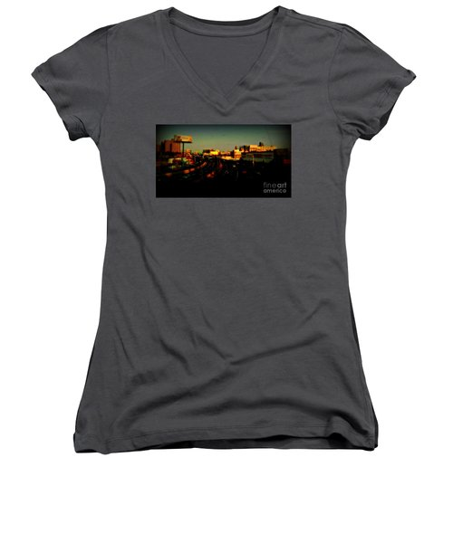 City Of Gold - New York City Sunset With Water Towers Women's V-Neck T-Shirt (Junior Cut) by Miriam Danar