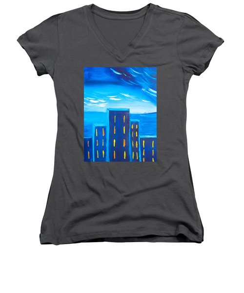 City Women's V-Neck T-Shirt (Junior Cut) by Joshua Maddison