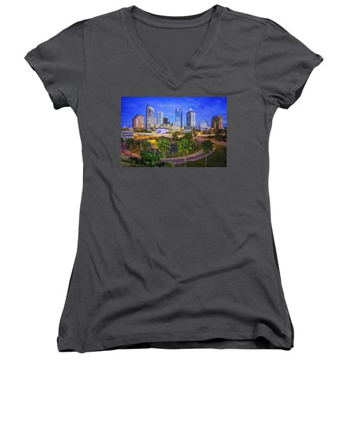 City Of Tampa At Dawn In Hdr Women's V-Neck T-Shirt