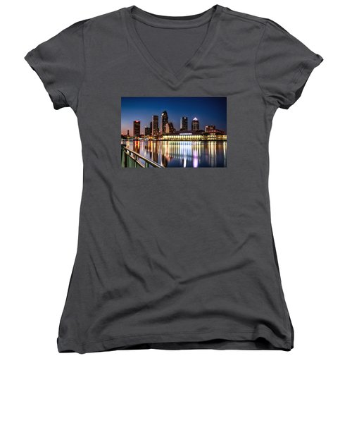 City Of Tampa Skyline  Women's V-Neck T-Shirt
