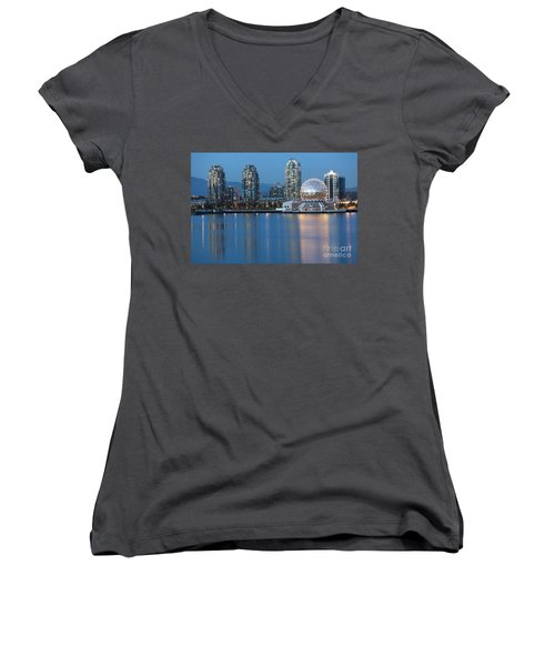 City Skyline -vancouver B.c. Women's V-Neck