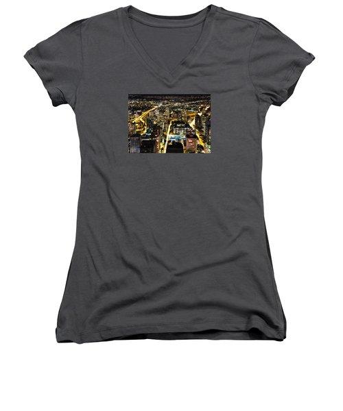 Women's V-Neck T-Shirt (Junior Cut) featuring the photograph Cityscape Golden Burrard Bridge Mdlxiv by Amyn Nasser