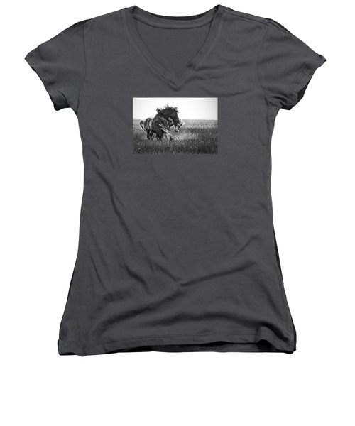 Women's V-Neck T-Shirt (Junior Cut) featuring the photograph Clash Of Two Wild Stallions by Bob Decker