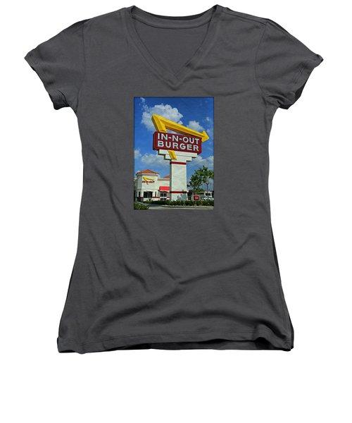 Classic Cali Burger 1.1 Women's V-Neck T-Shirt (Junior Cut) by Stephen Stookey