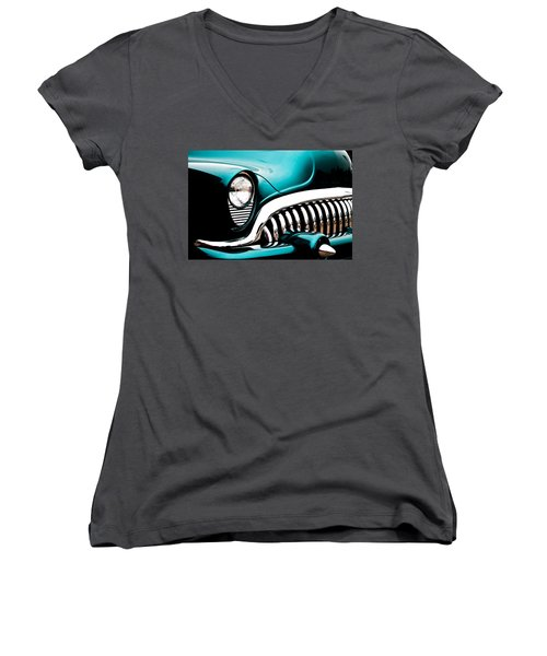 Classic Turquoise Buick Women's V-Neck T-Shirt