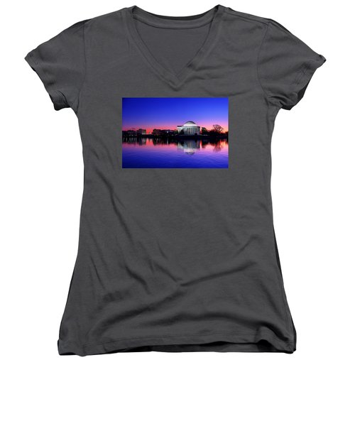 Clear Blue Morning At The Jefferson Memorial Women's V-Neck