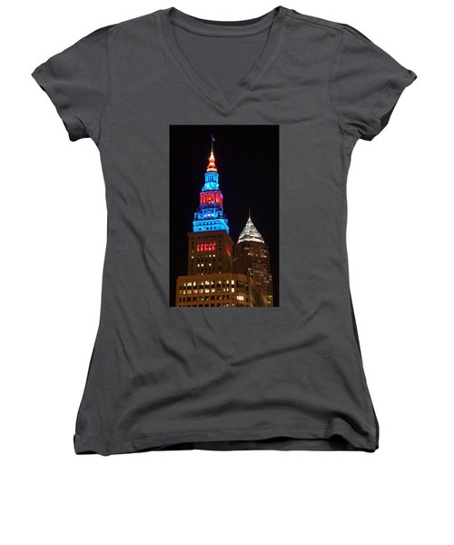 Women's V-Neck featuring the photograph Cleveland Towers by Dale Kincaid