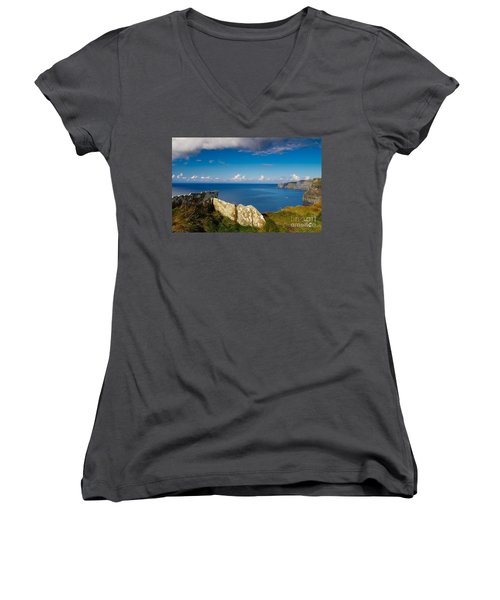 Women's V-Neck T-Shirt (Junior Cut) featuring the photograph Cliffs Of Moher by Juergen Klust