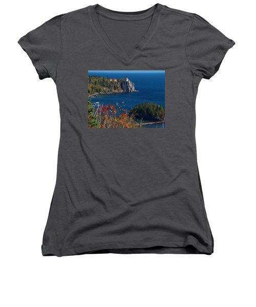 Cliffside Scenic Vista Women's V-Neck T-Shirt (Junior Cut) by James Peterson