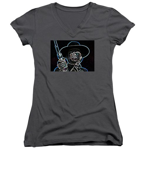 Women's V-Neck T-Shirt (Junior Cut) featuring the painting Clint by Hartmut Jager