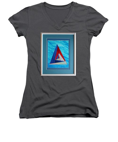Women's V-Neck T-Shirt (Junior Cut) featuring the mixed media Close Encounter by Ron Davidson