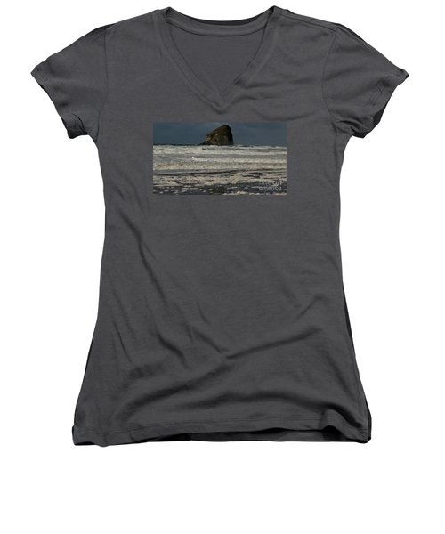 Close Haystack Rock Women's V-Neck T-Shirt (Junior Cut) by Susan Garren