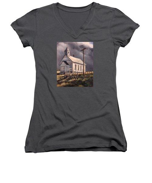 Closed On Sundays Women's V-Neck T-Shirt (Junior Cut) by Donna Tucker
