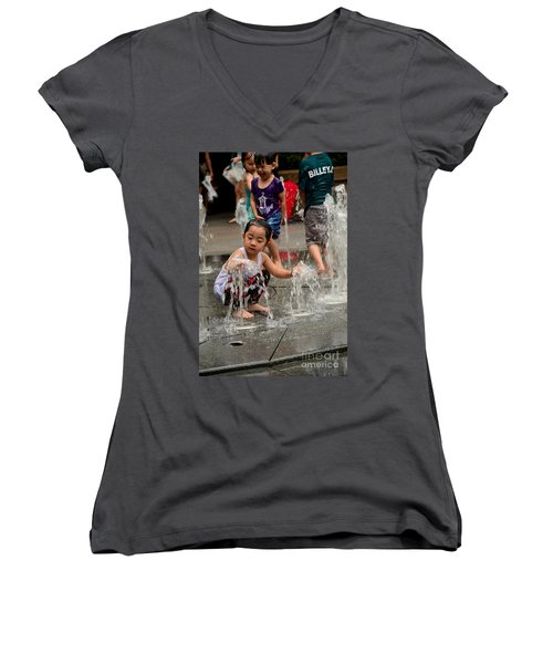 Clothed Children Play At Water Fountain Women's V-Neck T-Shirt