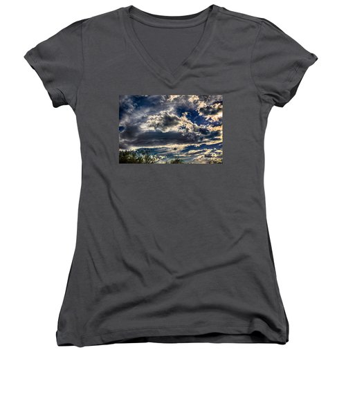 Women's V-Neck T-Shirt (Junior Cut) featuring the photograph Cloud Drama by Mark Myhaver