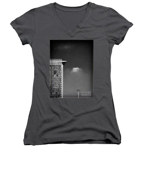 Women's V-Neck T-Shirt (Junior Cut) featuring the photograph Cloud Lamp Building by Silvia Ganora