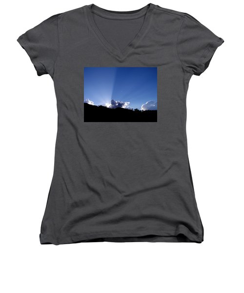 Women's V-Neck T-Shirt (Junior Cut) featuring the photograph Cloud Rays by Craig T Burgwardt