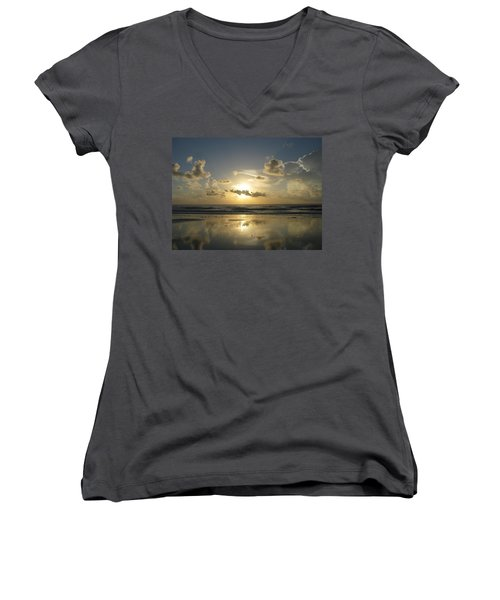 Clouds Across The Sun 2 Women's V-Neck T-Shirt (Junior Cut)