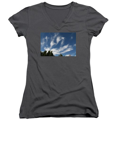 Women's V-Neck T-Shirt (Junior Cut) featuring the photograph Clouds by David S Reynolds