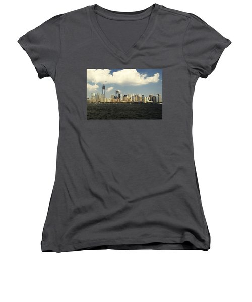 Clouds Over New York Skyline Women's V-Neck T-Shirt