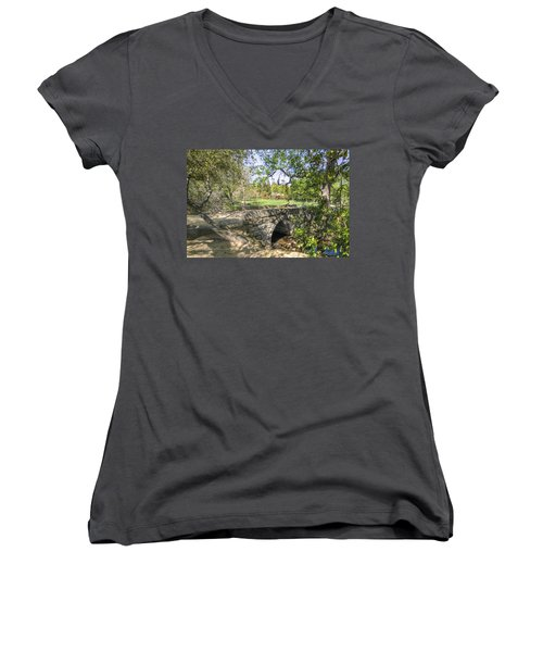 Clover Valley Park Bridge Women's V-Neck T-Shirt (Junior Cut) by Jim Thompson