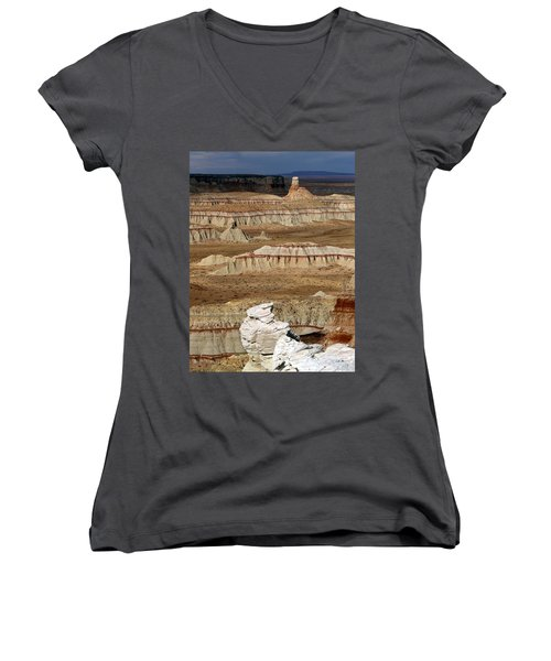 Coal Mine Mesa 19 Women's V-Neck T-Shirt (Junior Cut) by Jeff Brunton