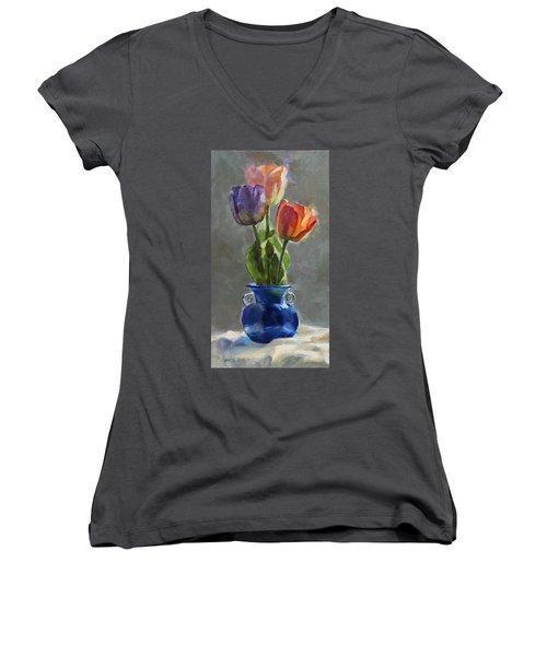 Cobalt And Tulips Still Life Painting Women's V-Neck