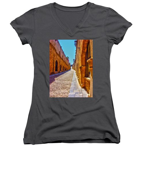 Rhodes Cobbled Street Women's V-Neck (Athletic Fit)
