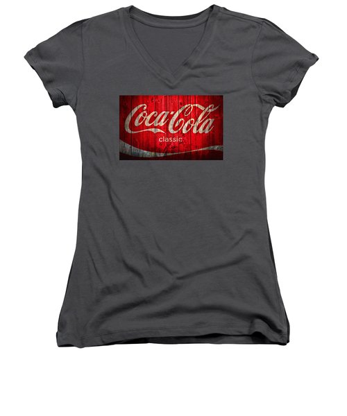Women's V-Neck featuring the photograph Coca Cola Barn by Dan Sproul