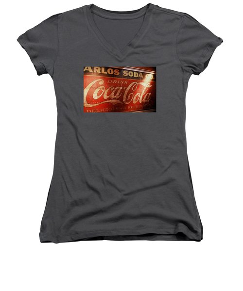 Women's V-Neck T-Shirt (Junior Cut) featuring the photograph Coca Cola Sign by Rodney Lee Williams