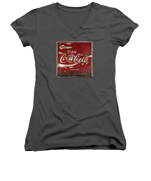 Coca Cola Wood Grunge Sign Women's V-Neck T-Shirt