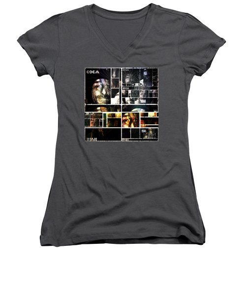 Women's V-Neck T-Shirt (Junior Cut) featuring the photograph Coca In Part 5 Collage  by Sir Josef - Social Critic - ART