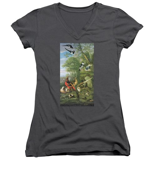 Cock Pheasant Hen Pheasant And Chicks And Other Birds In A Classical Landscape Women's V-Neck T-Shirt (Junior Cut) by Pieter Casteels
